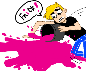 Blonde guy spills pink paint on the floor