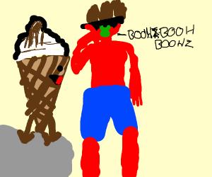 Bad sunburned man playing kazoo to ice cream