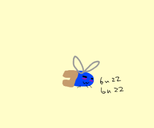 Blue flying bug wearing pants