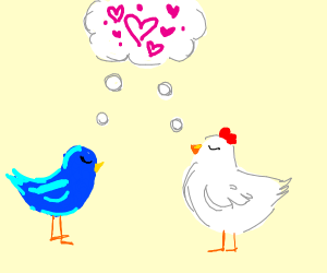 a chicken and a bird thinking about each othe