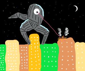 Robot cyclops hand attacks city