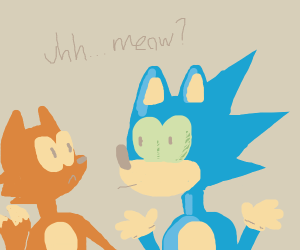 sonic and tails pretending to be a cat