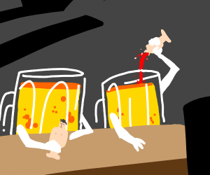 some mugs of beer drinking humans at a bar
