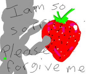 Silhouetted figure apologizes to strawberry