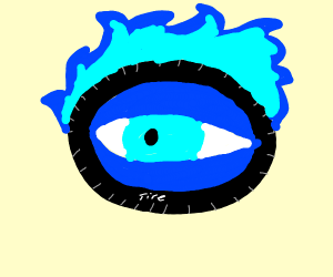 Wheels on blue fire that have blue eyes