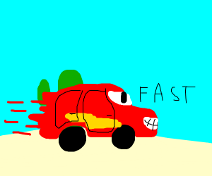 Lightning McQueen speeds through a Desert