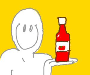 man enjoyes ketchup