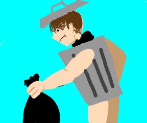 Man dressed as a garbage bin picks garbage