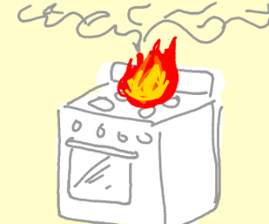 Stove catches fire!!