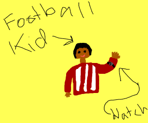 Football kid checks watch