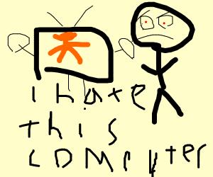 guy getting mad at crashing computer