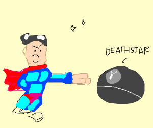 Giant Superman destroys deathstar