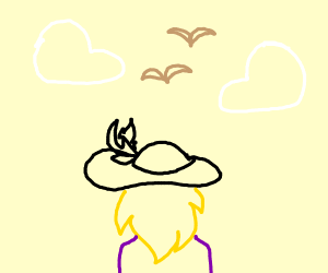 Behatted blonde beholds birds and bird-clouds