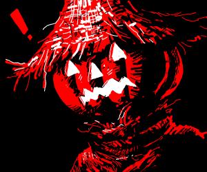 Scared Pumpkin Wears a Scarecrows Straw Hat