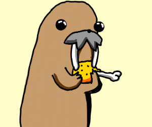 A Walrus eating fried chicken