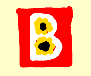 Red B with flowers where the holes should be