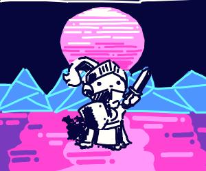 vaporwave cat knight