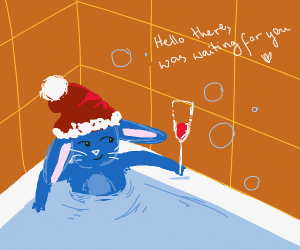 Santa bunny joins your bath