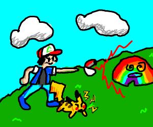 ash catches rainbow
