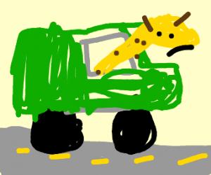 Sad Giraffe Stuck In Car