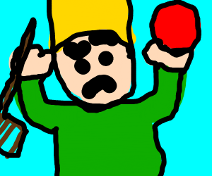someone holding a ball with a rake