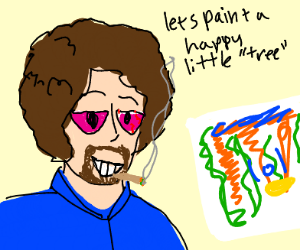 Bob Ross smoking weed while painting