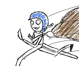 a burglar with a helmet and katana
