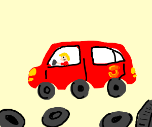 Red car with extra tires on top and around it