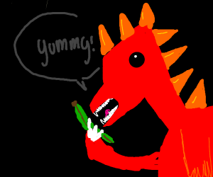 Dragon[?] eats yummy green banana.