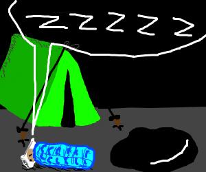 Camper sleeping near an oil smudge