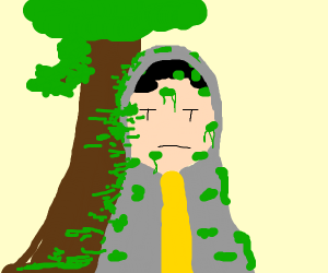 hooded guy covered in moss