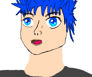 blue haired anime portrait