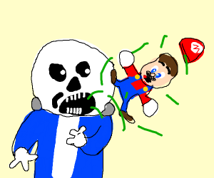 sans barfing out a little mario