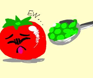 Tomato dislikes pea soup