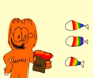 Garfield gives lava to rainbow fish