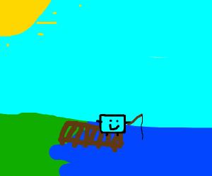 A Blue Rectangle (W/Limbs) Fishing