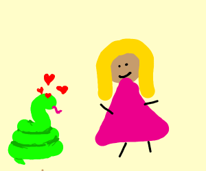 Snake in love with blonde woman