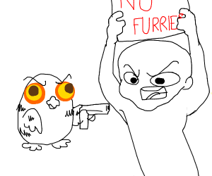 guy protests furries and owl shoot him