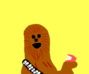 Chewbacca removes his dentures