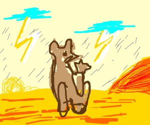 Kangaroo on a Stormy Day