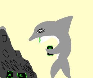 shark drinks too much monster