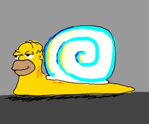 Homer simpson but as a snail
