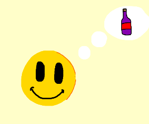 Smiley emote is considering alcohol.