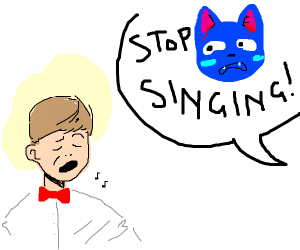 "blue alien cat yells ""stop singing!"""