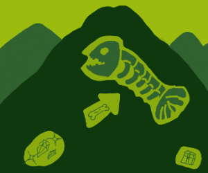 Dead Megalodon inside a mountain