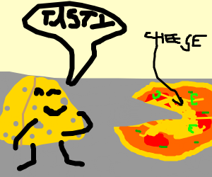 cheese eating cheese pizza