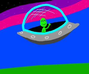 Alien waving goodbye from a spacecraft