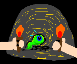 Detached eye between 2 torches