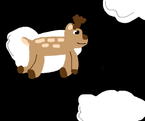 Reindeer hovering on a cloud