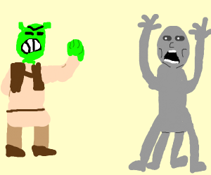 Shrek scares grey alien
